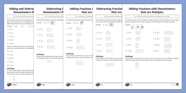 Adding And Subtracting Fractions With Denominators That Are Multiples