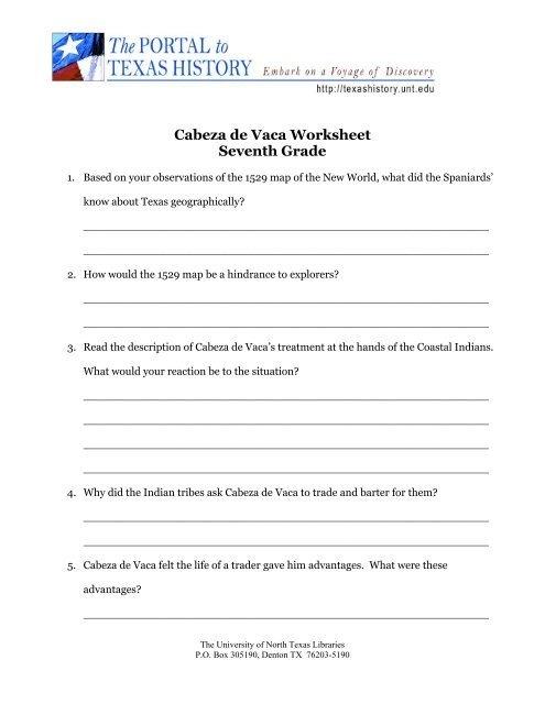 Cabeza De Vaca Worksheet Seventh Grade