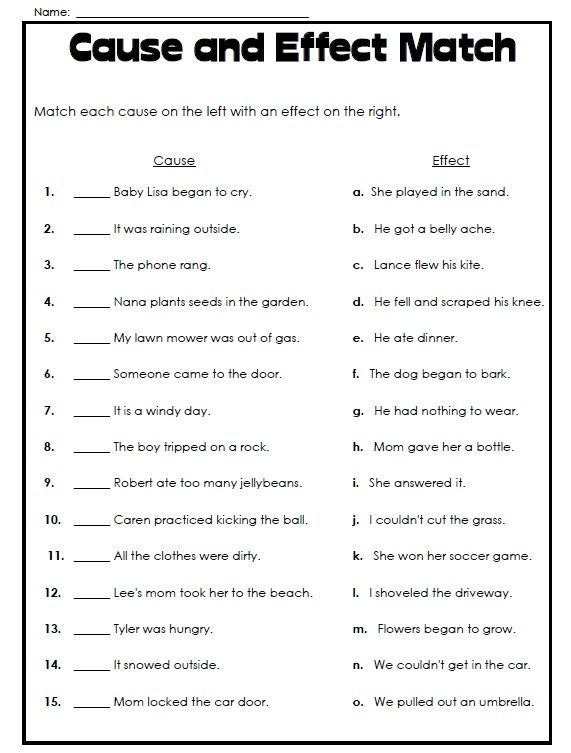 Cause And Effect Worksheets Th Grade