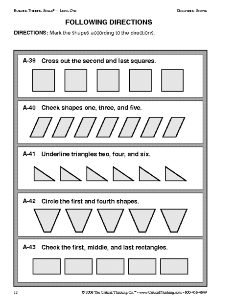 Critical Thinking Following Directions Worksheet