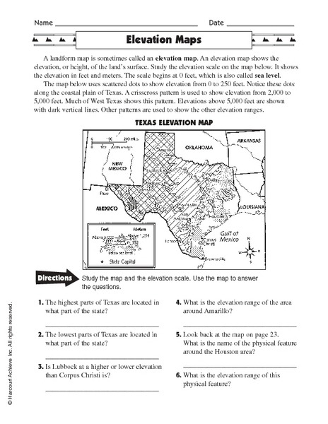 Elevation Maps Worksheet For Rd Th Grade Lesson Planet Map
