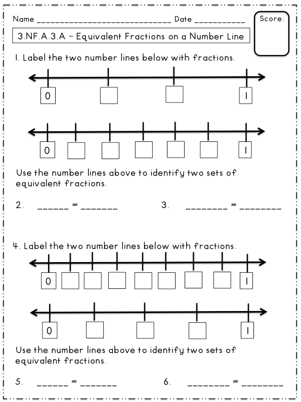Equivalent Fractions On A Number Line Freebie
