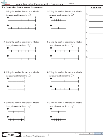 Equivalent Fractions With Numberlines Worksheet