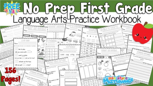 First Grade Language Arts Practice No Prep Worksheet Workbook