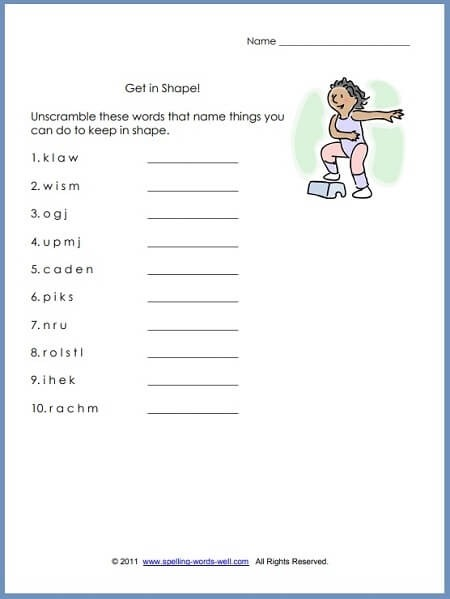 First Grade Language Arts Worksheets Nd Get In Shape Review Sheet