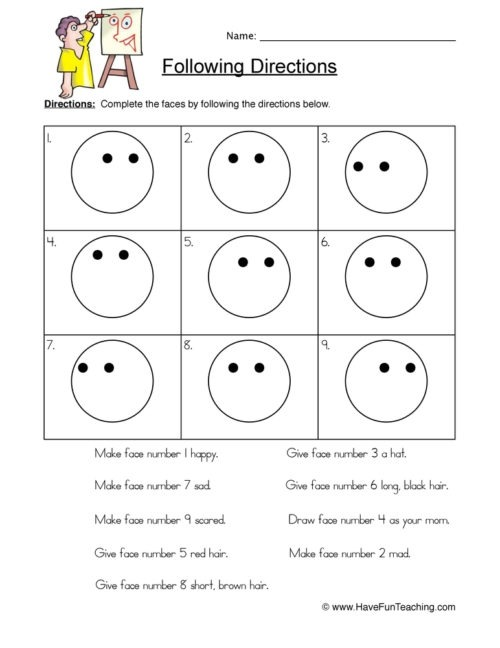 Following Directions Worksheets Have Fun Teaching For Grade Follow