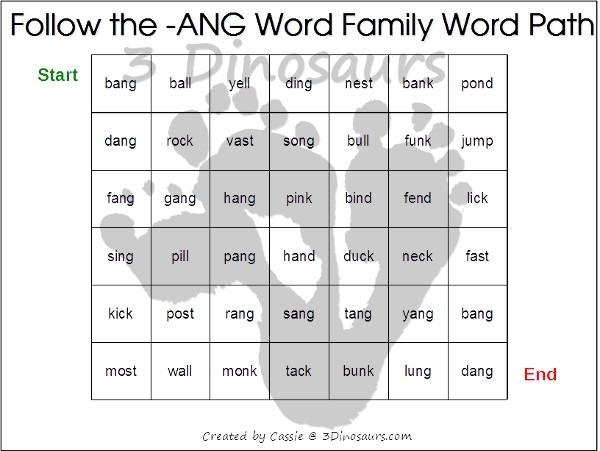 Free Cvcc Word Family Word Path
