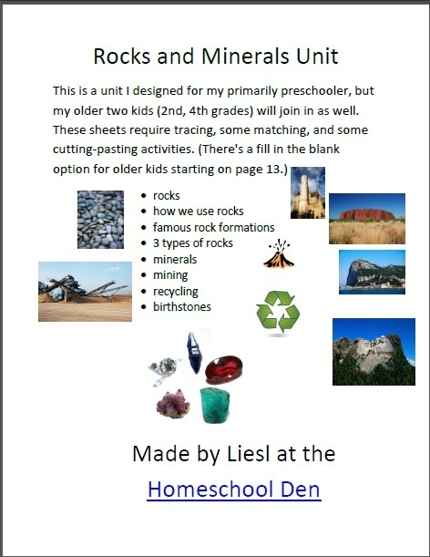 Free Rocks And Minerals Packet Homeschool Worksheets Grade