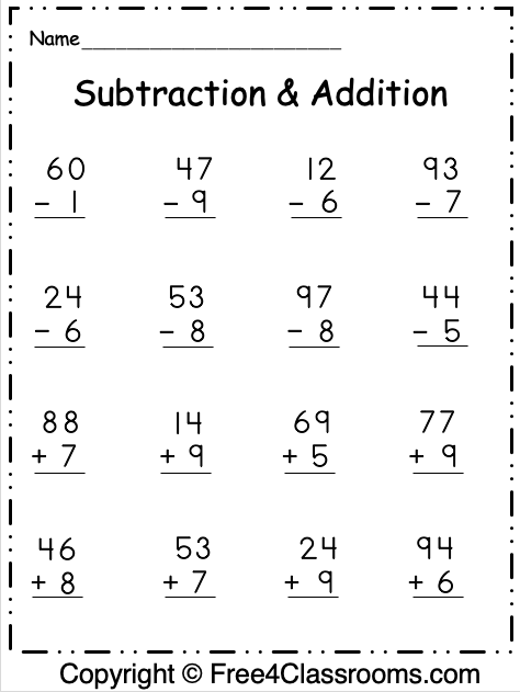 Free Subtraction And Addition Worksheets