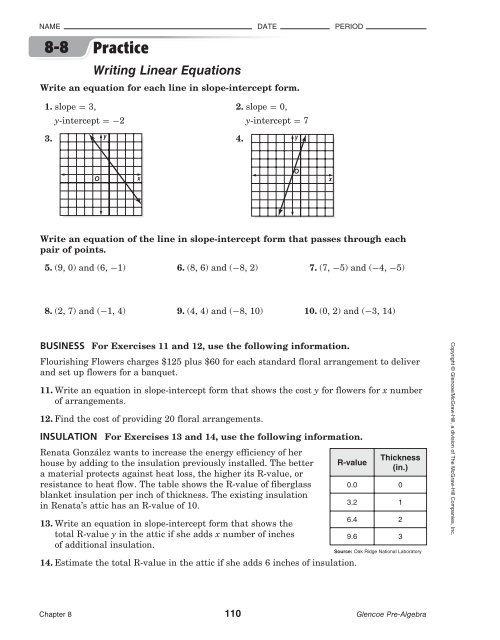 Glencoe Pre Algebra  Writing Linear Equations