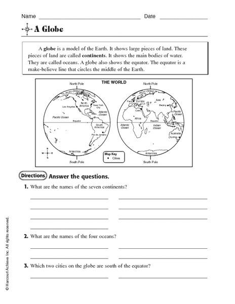 Globe Worksheet For Rd Th Grade Lesson Planet World Map