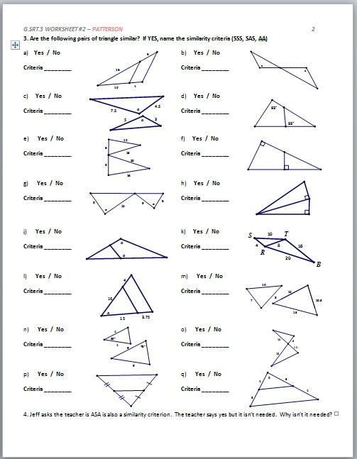 High School Geometry Worksheets With Answers Archives