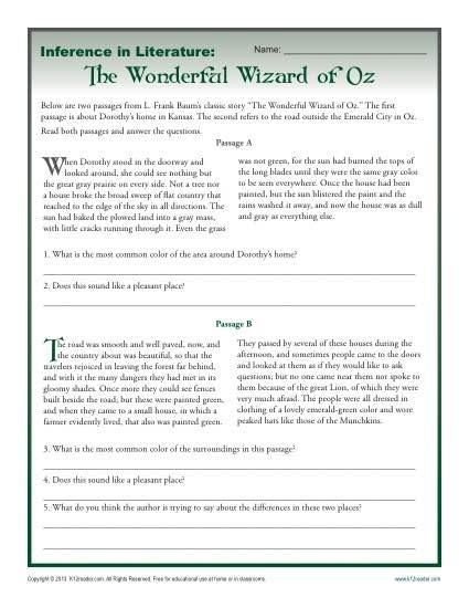 Inference In Literature The Wizard Of Oz Middle School Worksheets