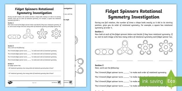 Ks Fidget Spinners Rotational Symmetry Worksheet