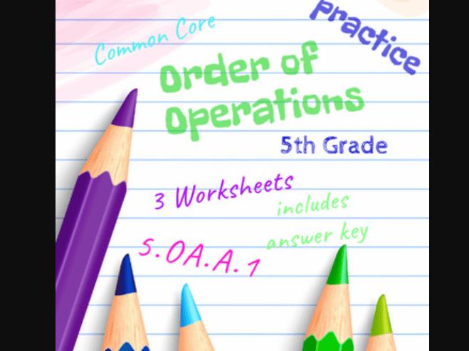 Order Of Operations  Th Grade Math Skills  Common Core Oaa
