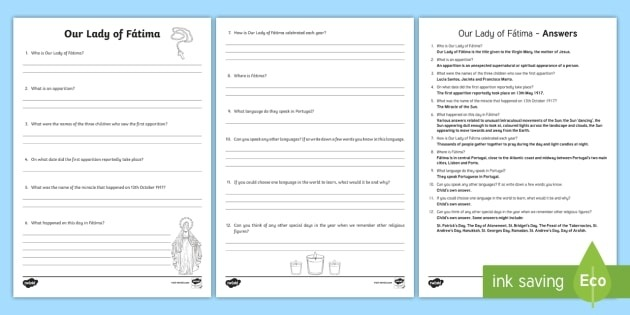 Our Lady Fatima Worksheet  Worksheet Teacher Made