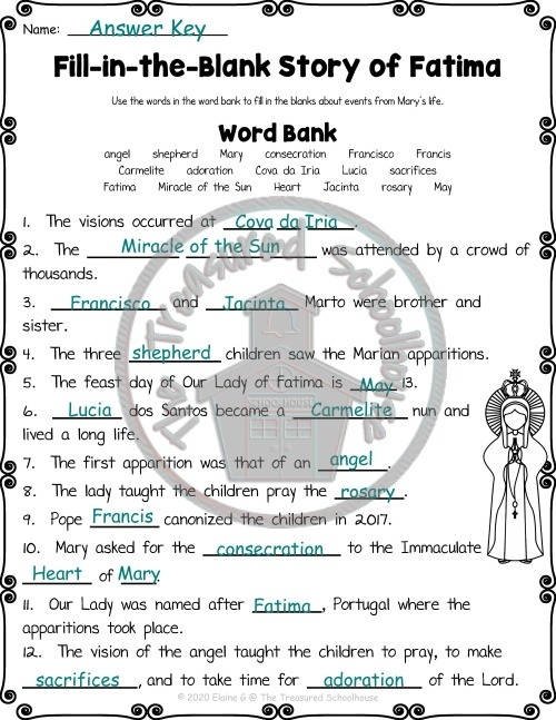 Our Lady Of Fatima Worksheet And Activity Pack