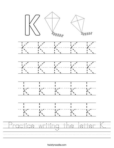 Practice Writing The Letter Worksheet Twisty Noodle Letters