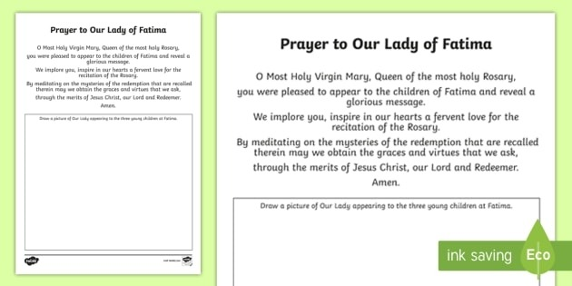 Prayer To Our Lady Of Fatima Worksheet  Worksheet