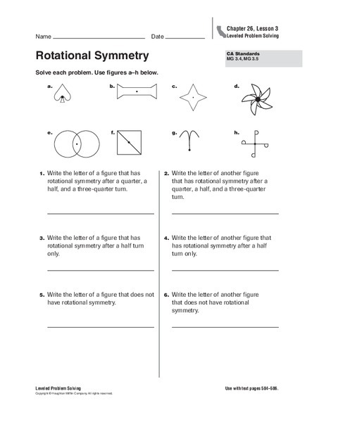 Rotational Symmetry Worksheet For Th Th Grade Lesson Planet