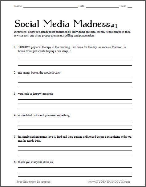 Social Media Madness Grammar Worksheet