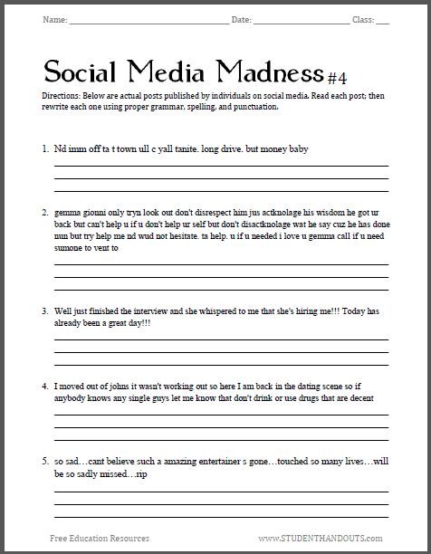 Social Media Madness Worksheet