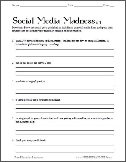 Social Media Madness Worksheets