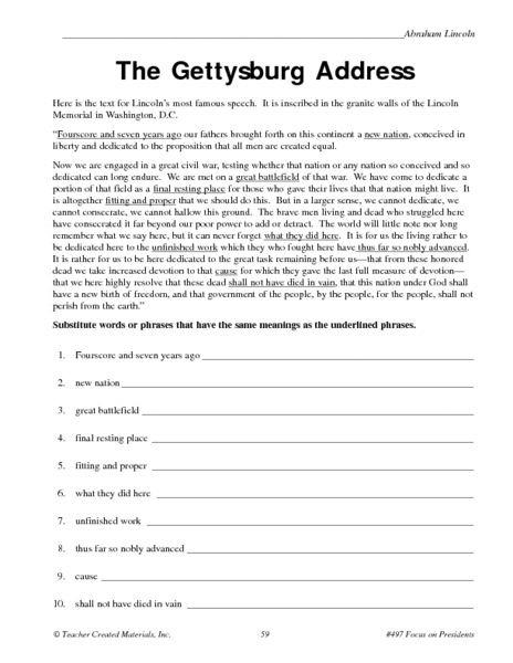 The Gettysburg Address Worksheet
