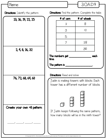 This Is A Set Of Worksheets For The Third Grade Math Standard Oa