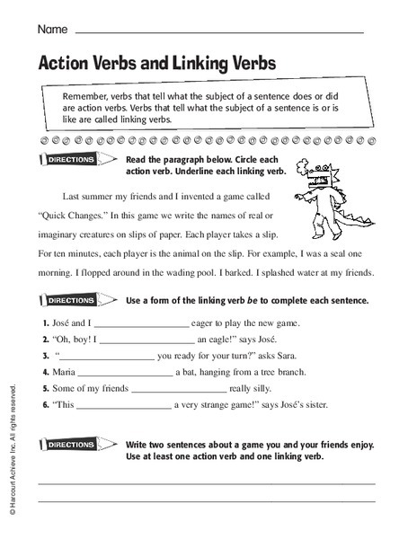 Action Verbs And Linking Verbs Worksheet For Nd