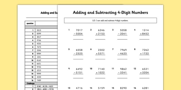 Adding And Subtracting Digit Numbers Without Renaming Worksheet