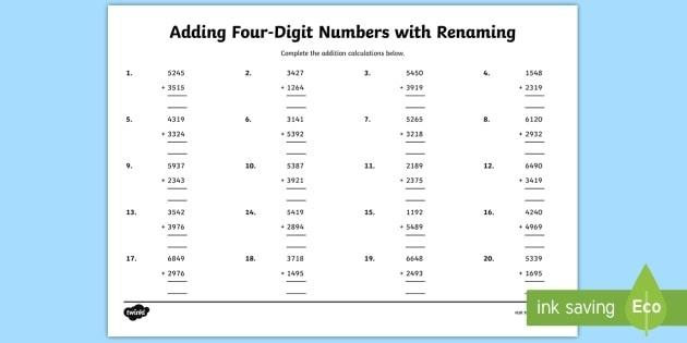 Adding Four Digit Numbers With Renaming Worksheet Grade Worksheets