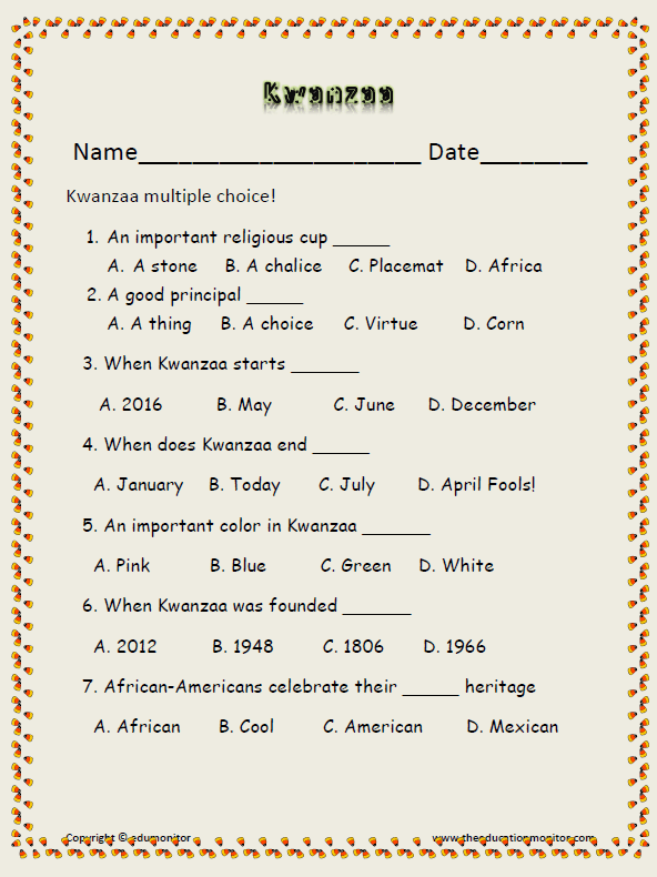 African American Kwanzaa Holiday Worksheet For Kids
