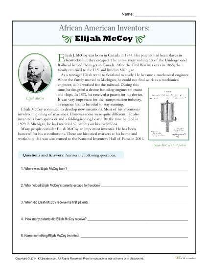 African Inventors Elijah Mccoy Free History Worksheets Blank