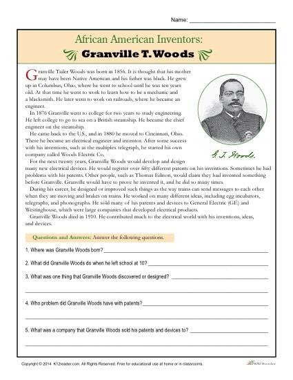 African Inventors Free History Worksheets Fraction On Top Of Kumon
