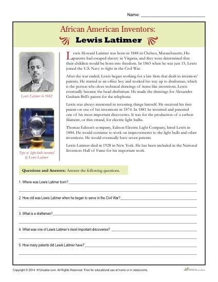 African Inventors Free History Worksheets Math Activities For