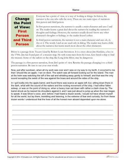 Alphabetimals Point Of View Worksheets Th Grade Sentence Building