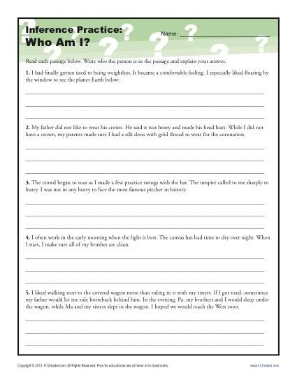 Am Inference Worksheet For Th And Th Grade Making Inferences