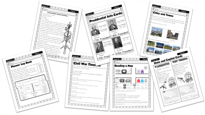 American History Work Book Ages  To  Free Printable Worksheets