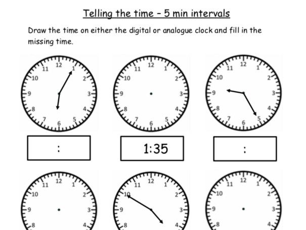 Analogue And Digital Telling The Time  Free Worksheets Oclock