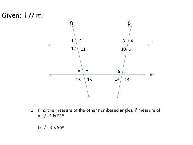 Angles Formed By Parallel Lines And Transversals Worksheet Answers