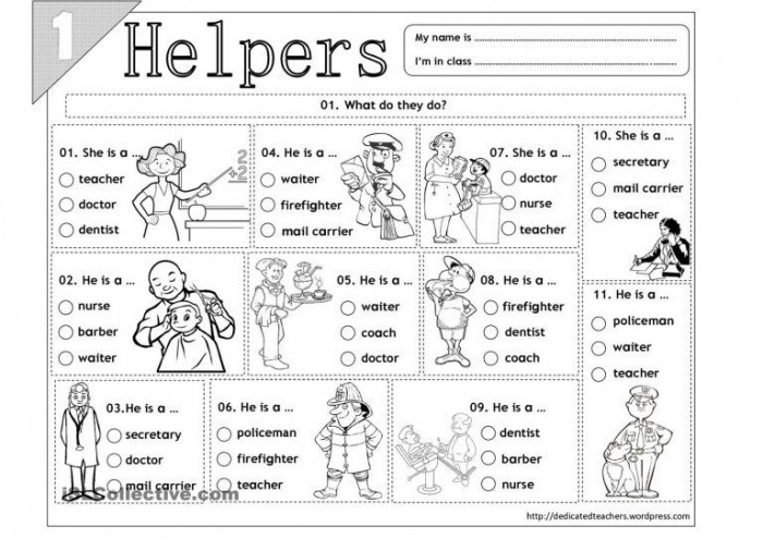 Best Images Of Free Printable Worksheets Community Helpers For