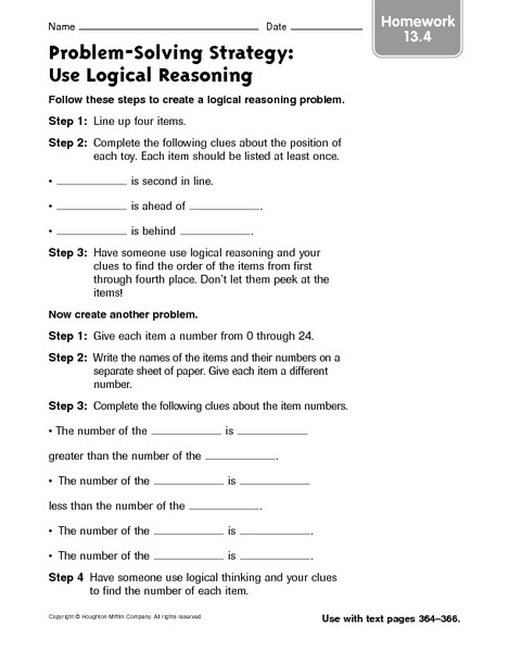 Childrens Puzzles Middle School Math Worksheets Logical Reasoning
