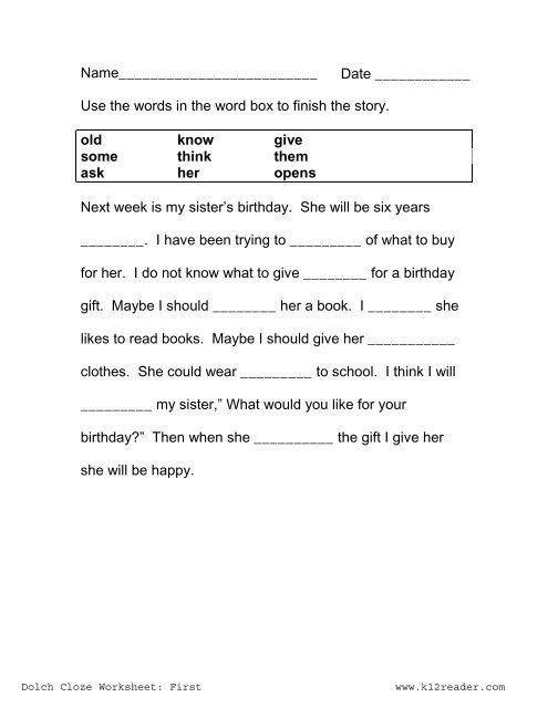 Cloze Activities Dolch First Grade Worksheet Reading Worksheets