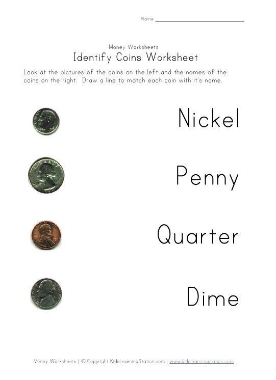 Coin Names Matching Worksheet