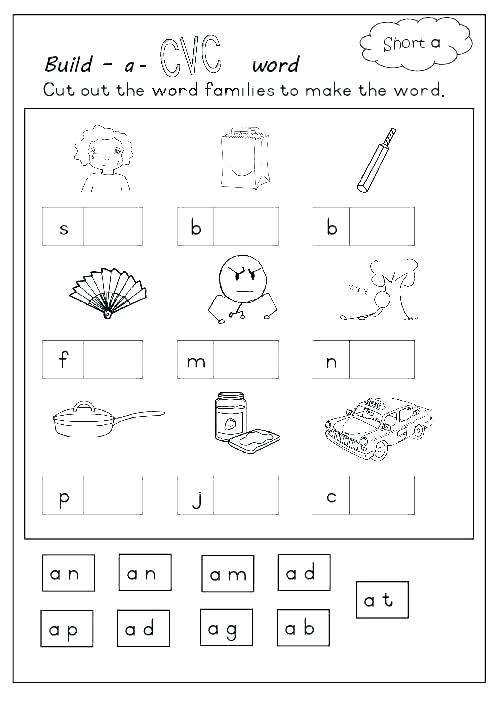 Coloring Free Phonics Worksheets For Kindergarten Cut And Paste