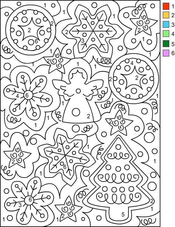 Coloring Pages  Color By Number Adultsee Printables Christmas
