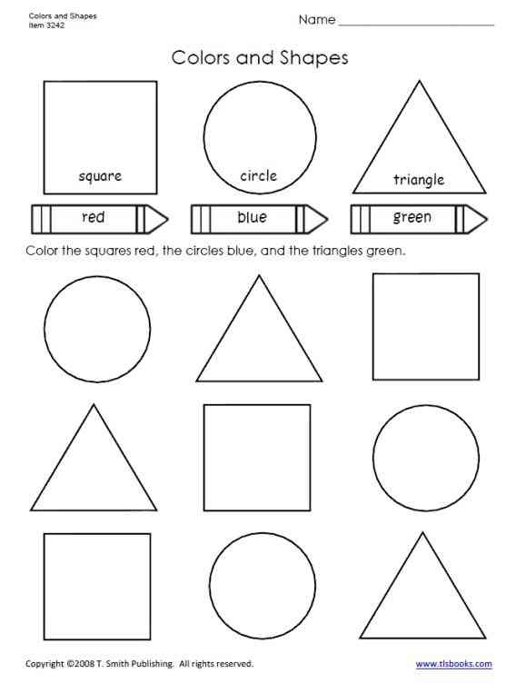 Colors And Shapes Worksheet For Primary Grades Preschool