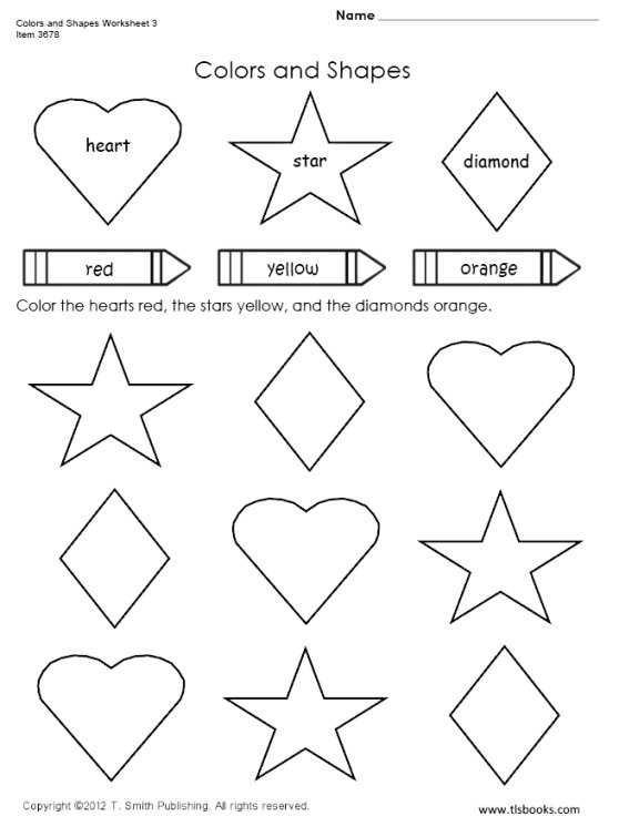 Colors And Shapes Worksheet Preschool Worksheets