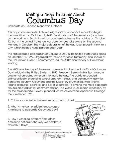 Columbus Day Free Worksheet